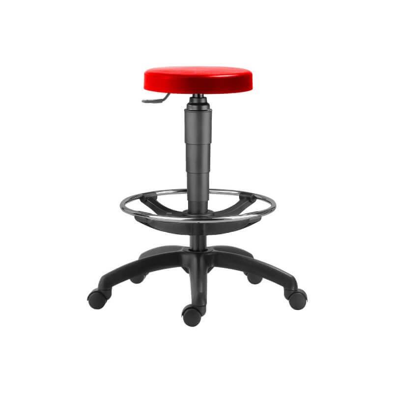 #09 TABURET RED   Priemyselná stolička s opierkou nôh