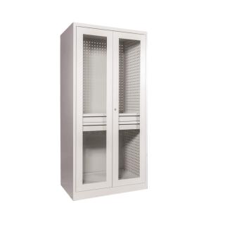 #05 STRONG DEEP MAXI 2D1S GLASS / Dielenská skriňa s presklenými dverami a dvomi zásuvkami, 1950/950/600 mm