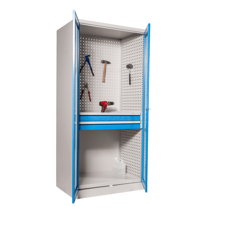 #05 STRONG DEEP MAXI 2D1S GLASS BLUE / Dielenská skriňa s presklenými dverami a dvomi zásuvkami, 1950/950/600 mm