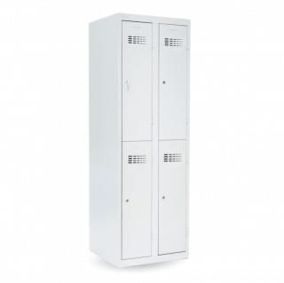 #02 MINI 4│ 4-dverová kovová šatníková skriňa delená, 1800/600/500 mm
