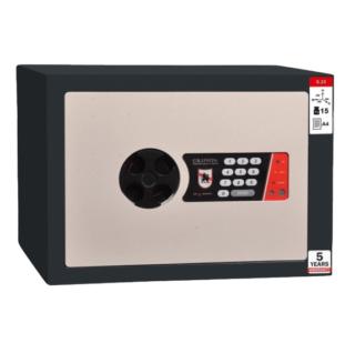 #17 MINISAFE S25 ELECTRO – Bezpečnostná schránka čierno – biela, elektronický zámok, 350 x 250 x 260 mm