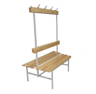 #16 BENCH 1000 DOUBLE AH │Obojstranná šatníková lavica s opierkou a vešiakmi, 1000 mm