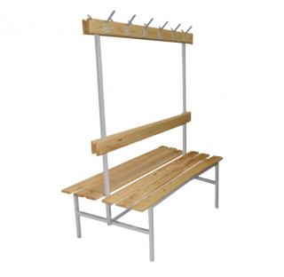 #16 BENCH 1500 DOUBLE AH │Obojstranná šatníková lavica s opierkou a vešiakmi, 1500 mm