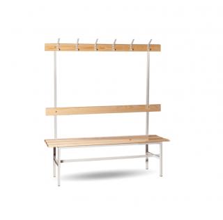 #16 BENCH 1500 AH │Šatníková lavica s opierkou a vešiakmi, 1500 mm
